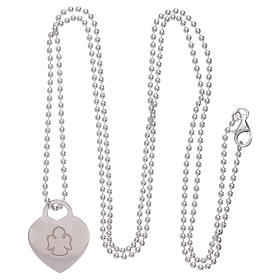 AMEN necklace with heart pendant in 925 sterling silver finished in rhodium s3