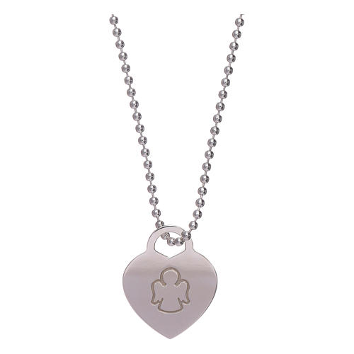 AMEN necklace with heart pendant in 925 sterling silver finished in rhodium 1
