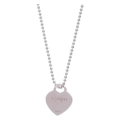 AMEN necklace with heart pendant in 925 sterling silver finished in rhodium 2
