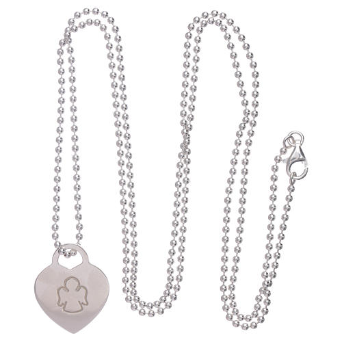 AMEN necklace with heart pendant in 925 sterling silver finished in rhodium 3