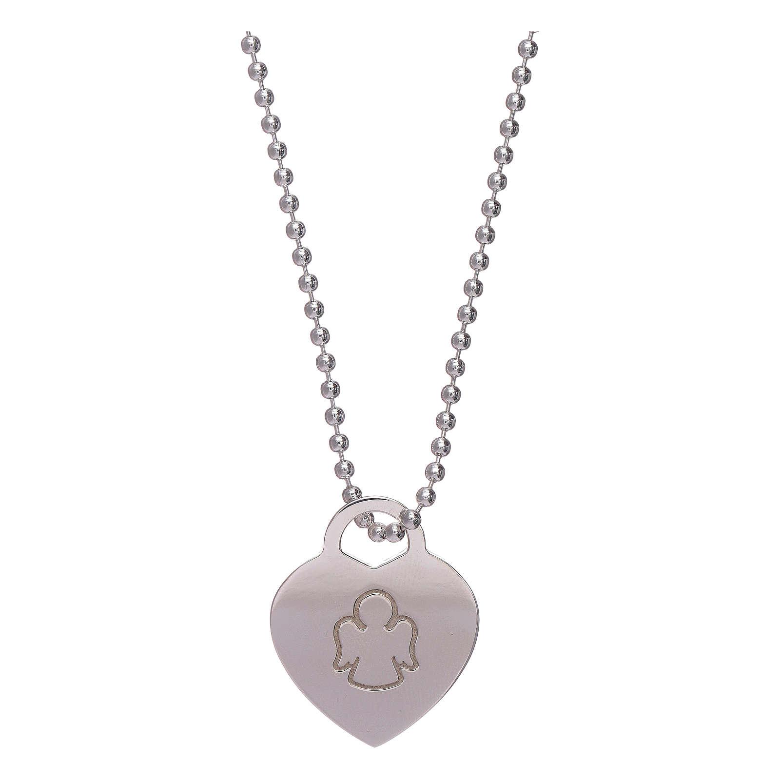 Collar colgante corazón AMEN plata 925 rodiada 4