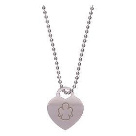 Collar colgante corazón AMEN plata 925 rodiada s1