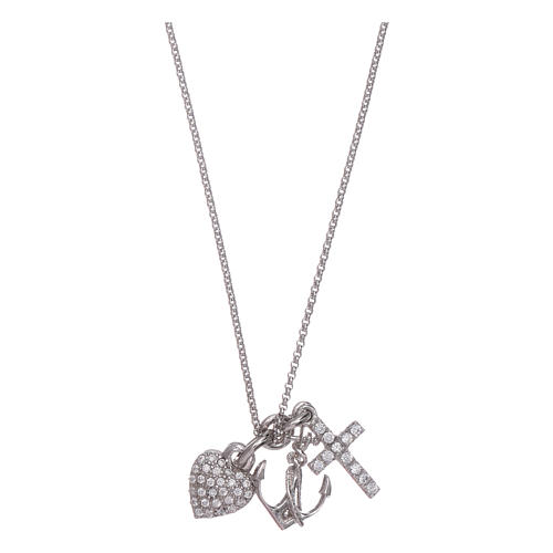 AMEN necklace in 925 sterling silver with three charms Faith, Hope and Compassion 1