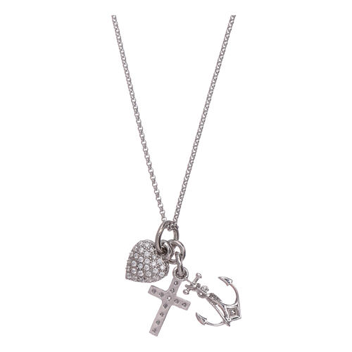 AMEN necklace in 925 sterling silver with three charms Faith, Hope and Compassion 2