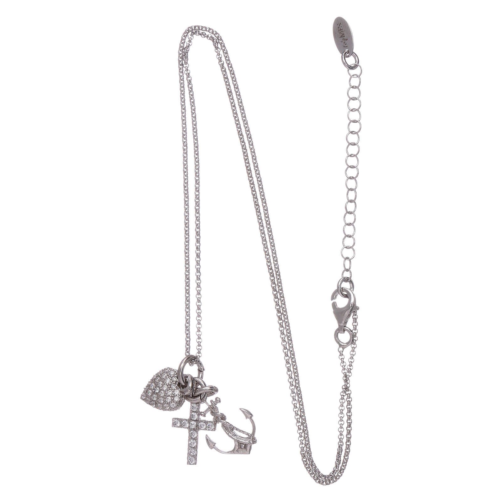 AMEN necklace in 925 sterling silver with three charms Faith, Hope and Compassion 4