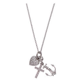 AMEN necklace in 925 sterling silver with three charms Faith, Hope and Compassion s2