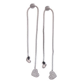 AMEN earrings hug shaped with heart pendant in 925 sterling silver finished in rhodium s1