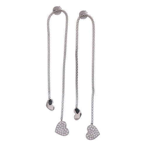 AMEN earrings hug shaped with heart pendant in 925 sterling silver finished in rhodium 1