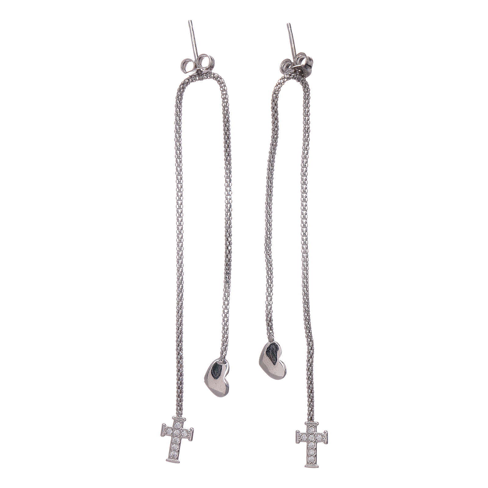 AMEN earrings hug shaped with heart and cross in 925 sterling silver finished in rhodium 4