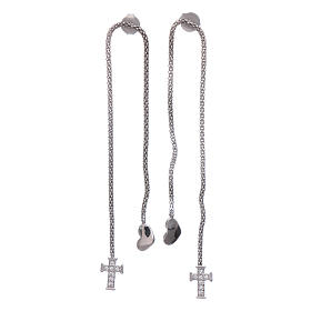 AMEN earrings hug shaped with heart and cross in 925 sterling silver finished in rhodium s1