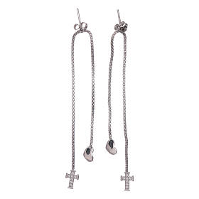 AMEN earrings hug shaped with heart and cross in 925 sterling silver finished in rhodium s2