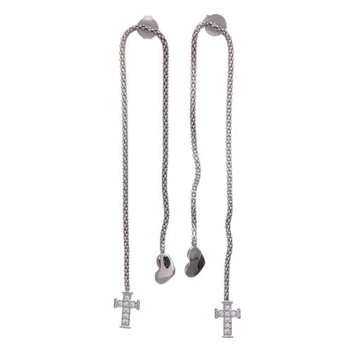 AMEN earrings hug shaped with heart and cross in 925 sterling silver finished in rhodium 1