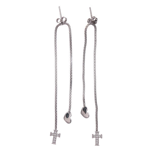 AMEN earrings hug shaped with heart and cross in 925 sterling silver finished in rhodium 2