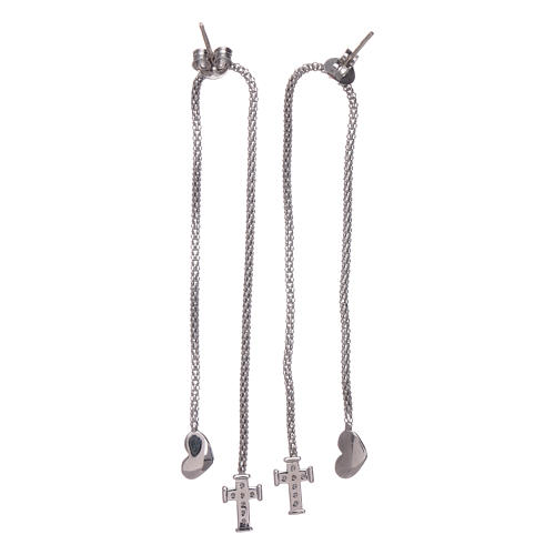 AMEN earrings hug shaped with heart and cross in 925 sterling silver finished in rhodium 3