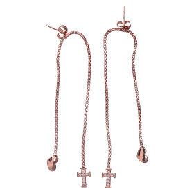Orecchini abbracci cuore e croce arg 925 rosè AMEN s2