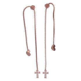Pingentes, Cruzes, Broches, Correntes: Brincos abraços corações e cruz prata 925 rosê AMEN