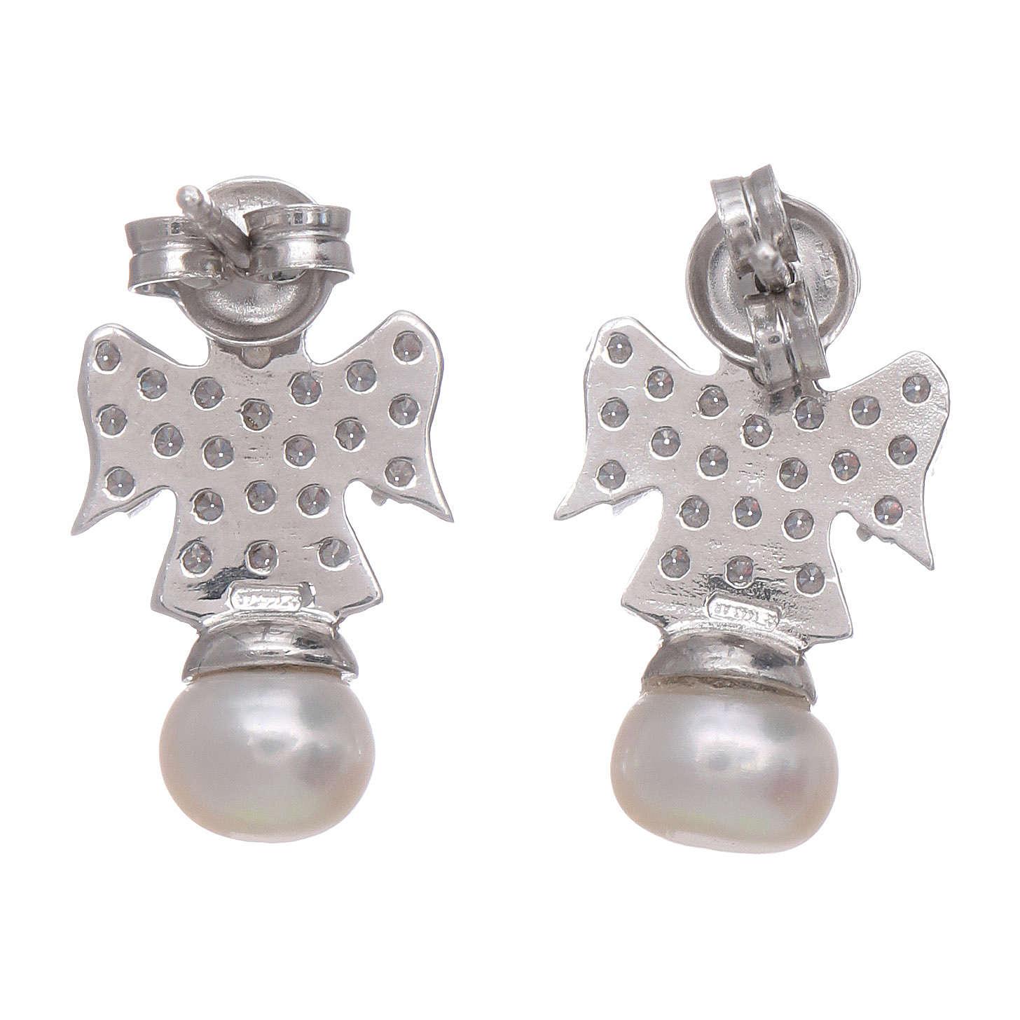 Orecchini angelo AMEN arg 925 rodiato zirconi e perle 4