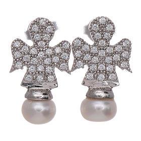 Orecchini angelo AMEN arg 925 rodiato zirconi e perle s1