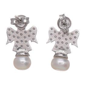 Orecchini angelo AMEN arg 925 rodiato zirconi e perle s3
