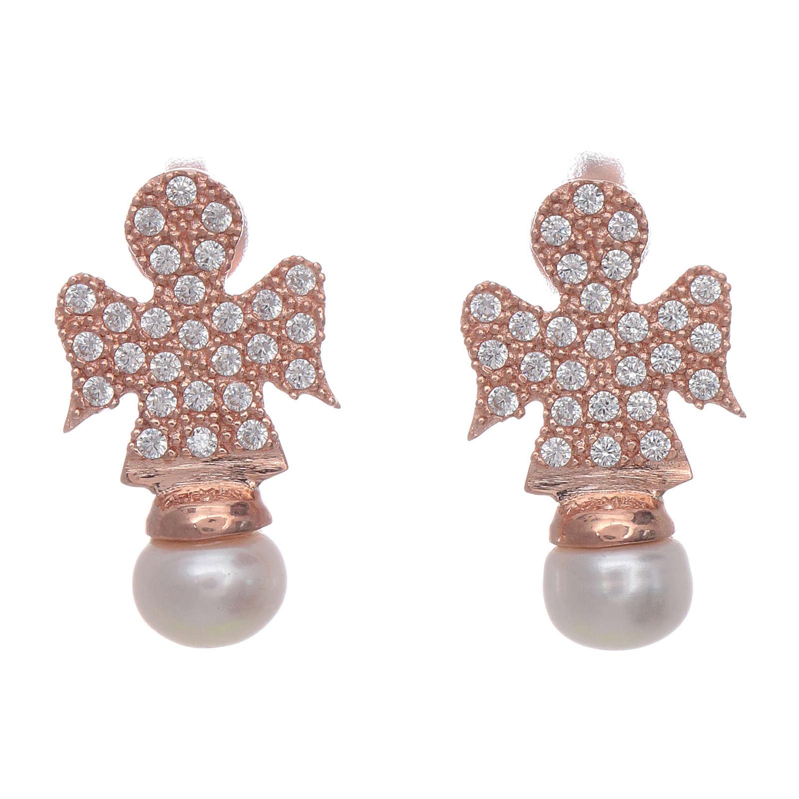 Orecchini AMEN rosè arg 925 angelo zirconi e perle 4