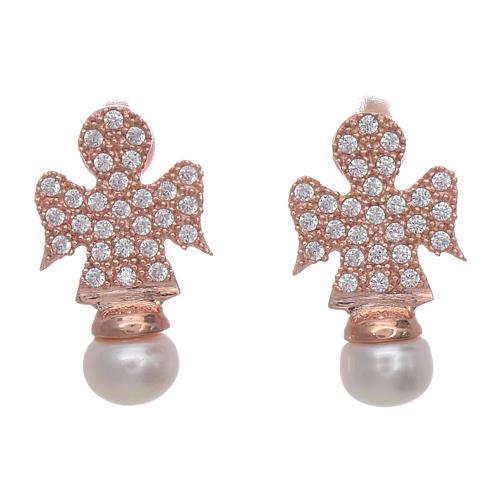 Orecchini AMEN rosè arg 925 angelo zirconi e perle 1