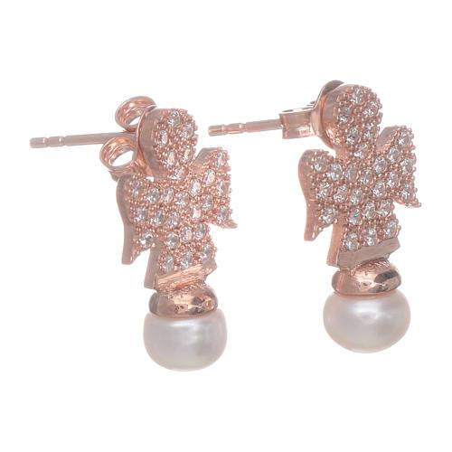 Orecchini AMEN rosè arg 925 angelo zirconi e perle 2