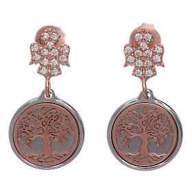 AMEN earrings in 925 sterling silver with angel and Tree of Life s1