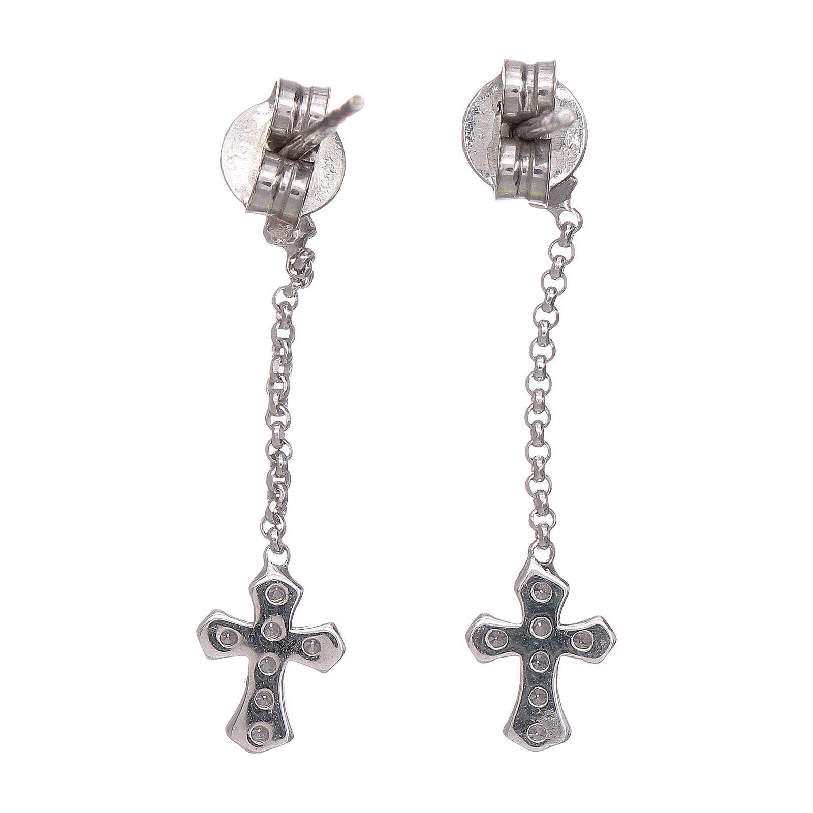 AMEN pendant earrings with zirconate cross in 925 sterling silver finished in rhodium 4