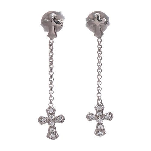 AMEN pendant earrings with zirconate cross in 925 sterling silver finished in rhodium 1