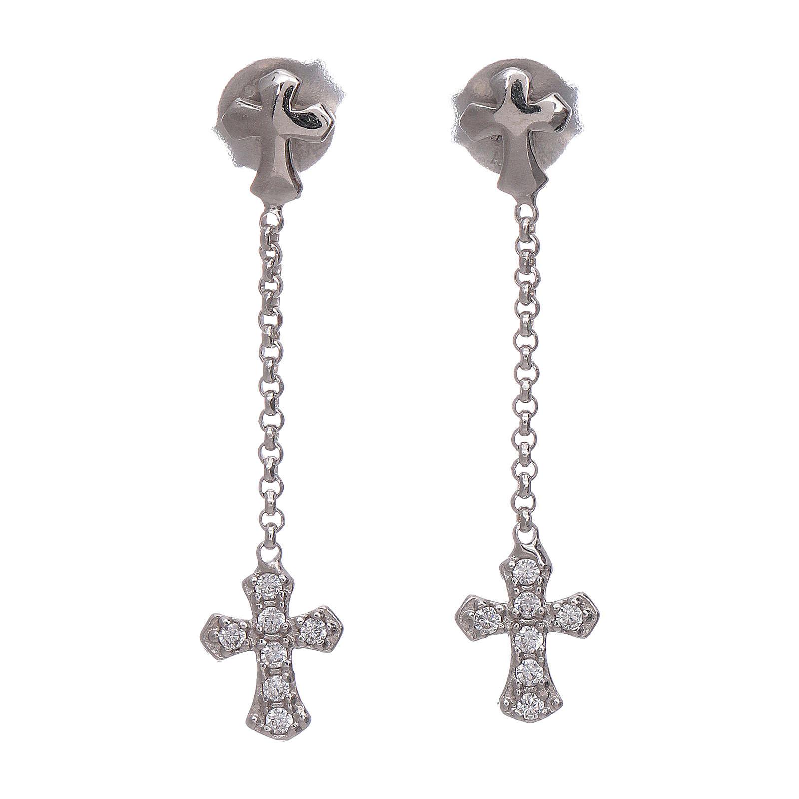 Brincos pingentes AMEN com cruz zircões prata 925 ródio 4