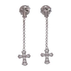 Brincos pingentes AMEN com cruz zircões prata 925 ródio s1