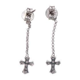 Brincos pingentes AMEN com cruz zircões prata 925 ródio s3