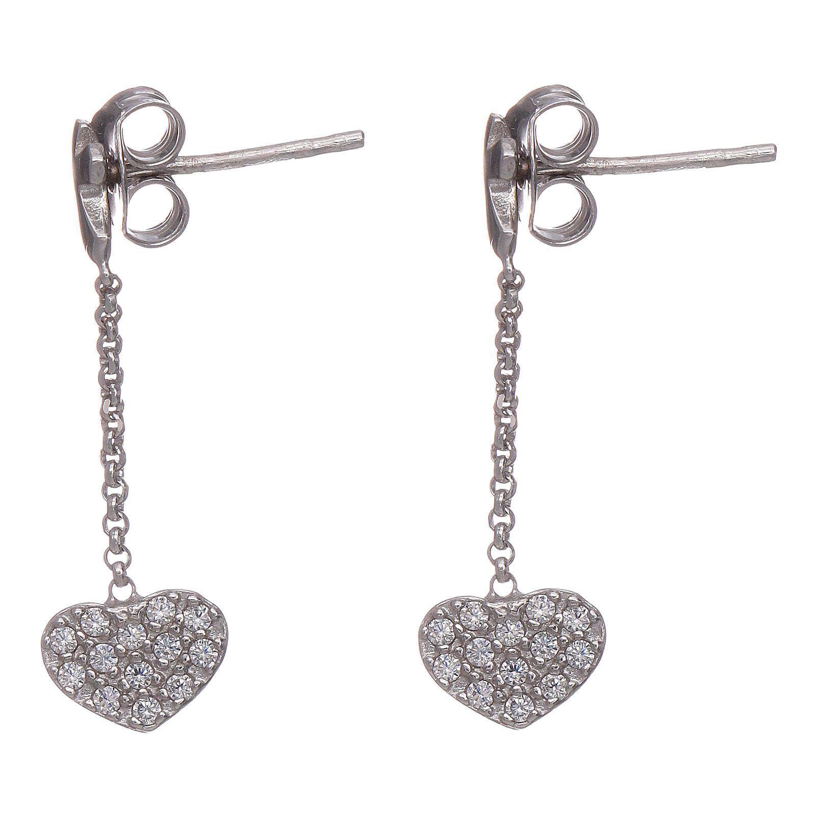 Boucles oreilles pendantes avec coeurs zircons AMEN argent 925 4