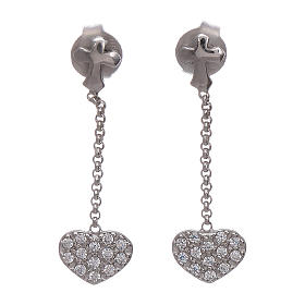 Boucles oreilles pendantes avec coeurs zircons AMEN argent 925 s1
