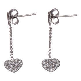 Boucles oreilles pendantes avec coeurs zircons AMEN argent 925 s2