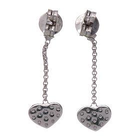 Boucles oreilles pendantes avec coeurs zircons AMEN argent 925 s3