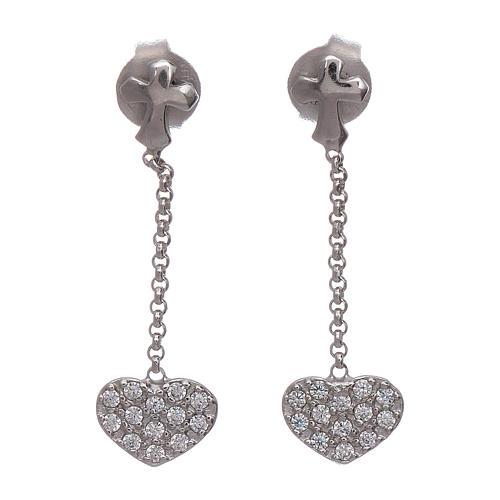 Boucles oreilles pendantes avec coeurs zircons AMEN argent 925 1