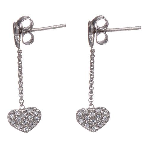 Boucles oreilles pendantes avec coeurs zircons AMEN argent 925 2