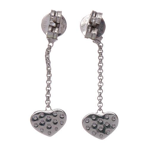 Boucles oreilles pendantes avec coeurs zircons AMEN argent 925 3