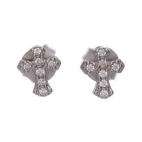Pingentes, Cruzes, Broches, Correntes: Brincos dormilonas cruz de zircões prata 925 AMEN