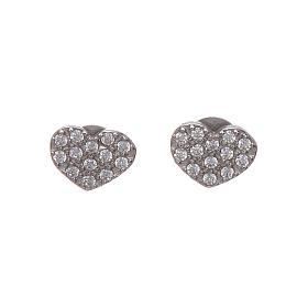 Pingentes, Cruzes, Broches, Correntes: Brincos Amen dormilonas coração com zircões brancos prata 925