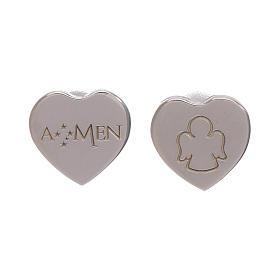 Pingentes, Cruzes, Broches, Correntes: Brincos dormilonas coração AMEN prata 925 radiada
