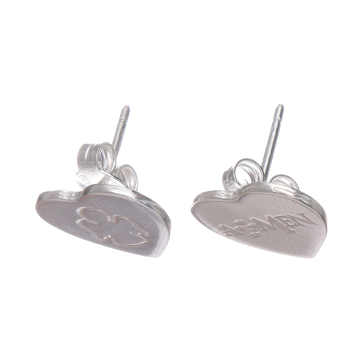 Boucles oreilles en coeur gravure ange AMEN argent 925 4