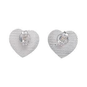 Boucles oreilles en coeur gravure ange AMEN argent 925 s3