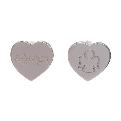 Boucles oreilles en coeur gravure ange AMEN argent 925 1