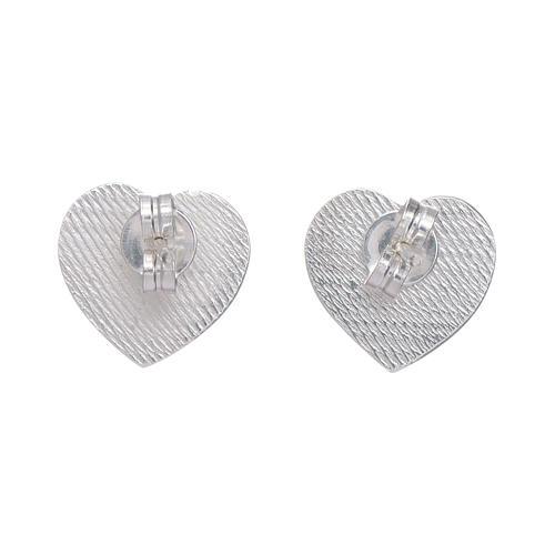 Boucles oreilles en coeur gravure ange AMEN argent 925 3
