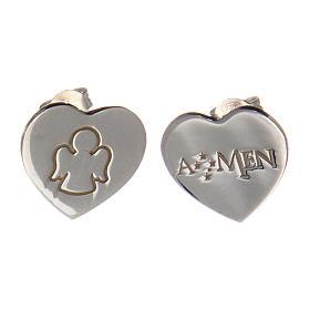 Pingentes, Cruzes, Broches, Correntes: Brincos coração de pino AMEN anjinho gravado prata 925