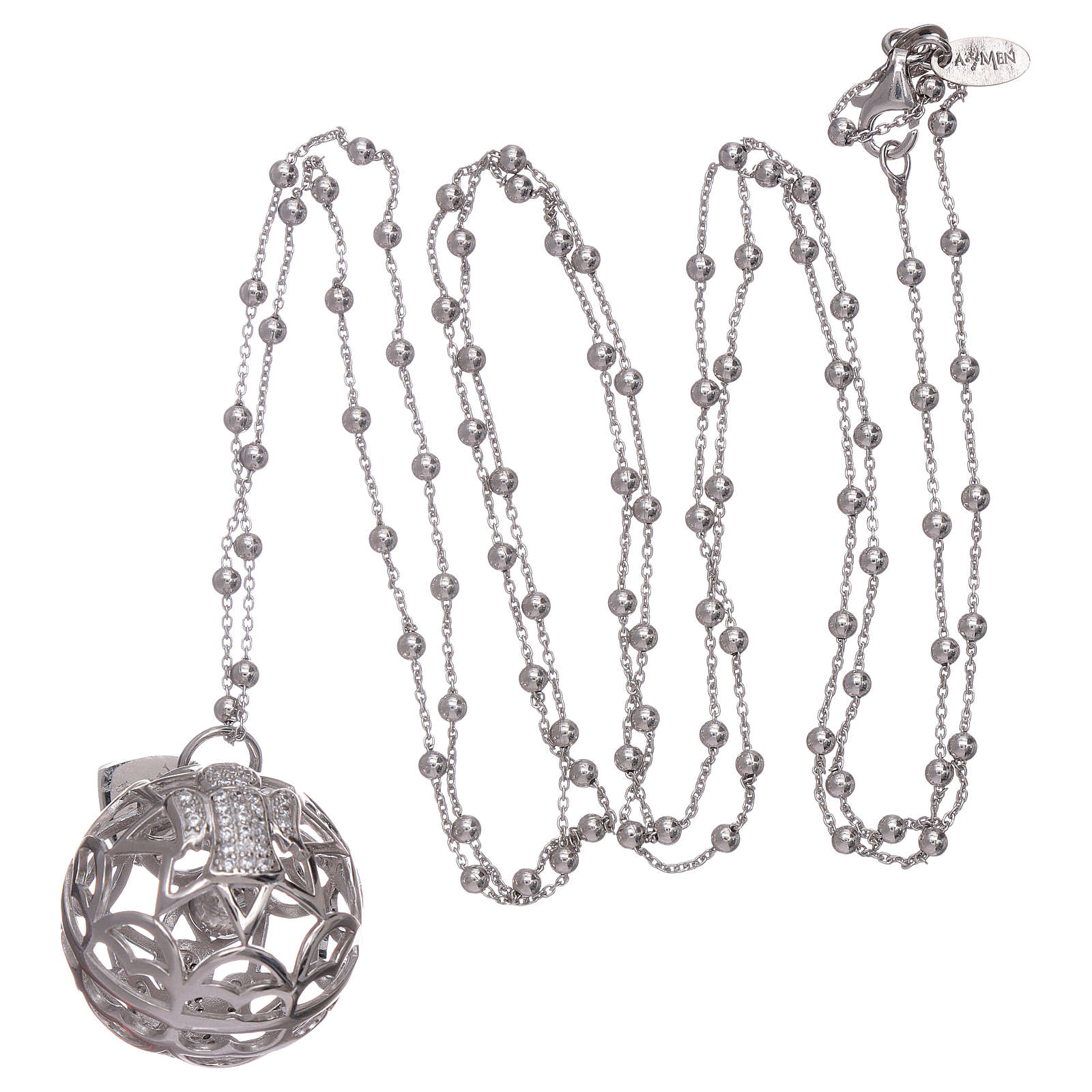 AMEN necklace with angel caller pendant in 925 sterling silver and zircons 4