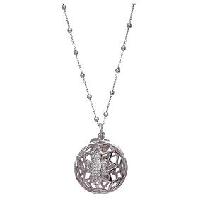 AMEN necklace with angel caller pendant in 925 sterling silver and zircons s1