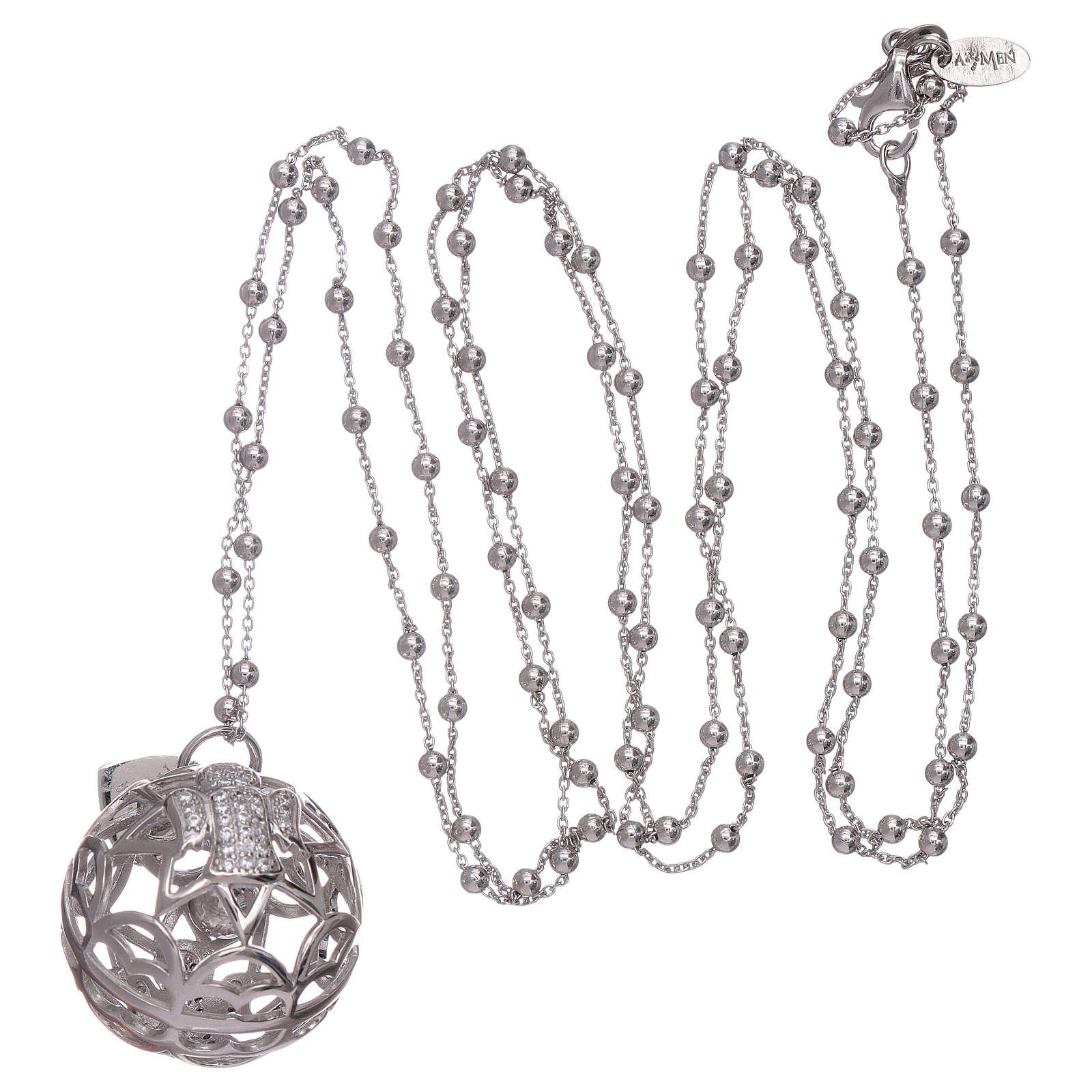 Collar AMEN colgante llamador de ángeles plata 925 y zircones 4